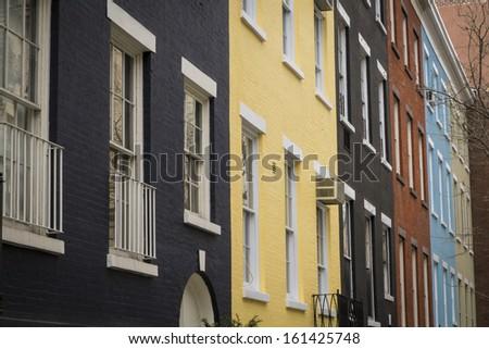 Apartment buildings in McDougal Sullivan Gardens historic district, New York City - stock photo