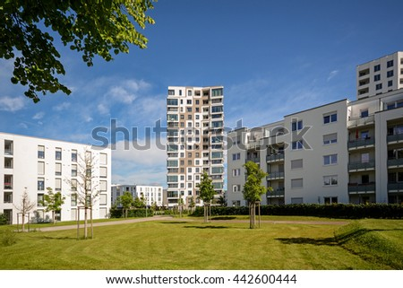 Apartment buildings in the city, modern residential buildings  - stock photo