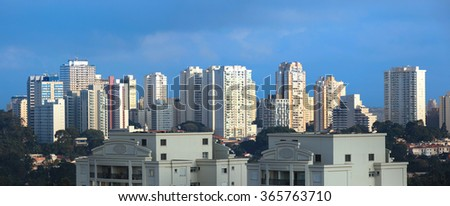 Apartment buildings in the city of Sao Paulo - stock photo