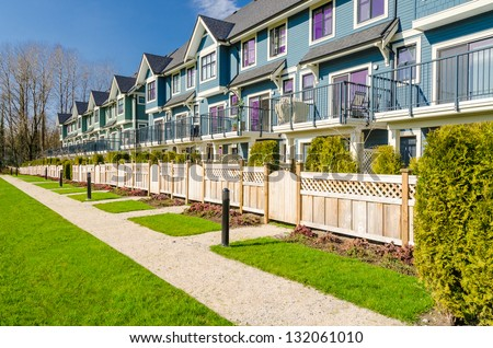 Apartment buildings in Vancouver, Canada. Residential architecture - stock photo