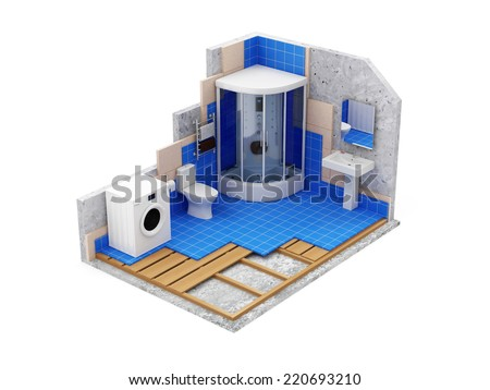 Apartment Construction Concept. Bathroom Under Construction isolated on white background - stock photo
