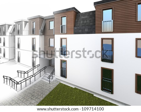 apartment design progress, architecture drawing and visualization - stock photo