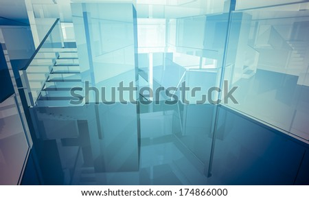 Apartment.Empty office with columns and large windows, Indoor building. business space with blue light effects