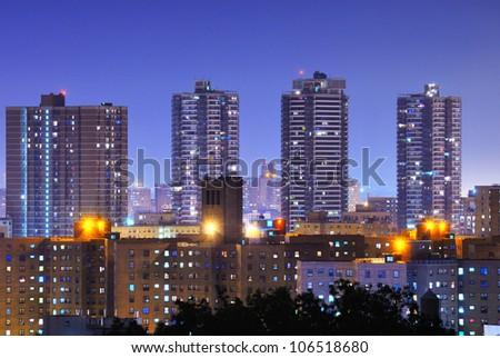 Apartment high rises in uptown Manhattan neighborhood of Harlem. - stock photo