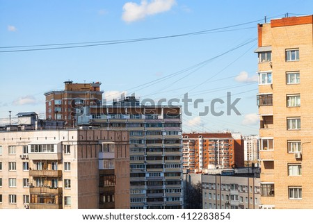 apartment houses in living quarter of city in sunny spring day, Moscow, Russia - stock photo