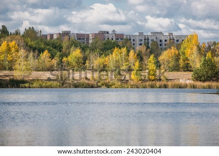 Apartment houses in Pripyat town, Chernobyl Nuclear Power Plant Zone of Alienation, Ukraine - stock photo