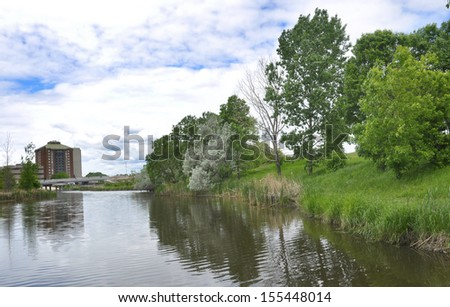 apartment in lakeside district - stock photo