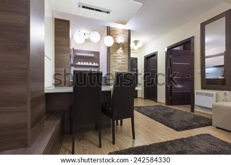 Apartment interior - dining area - stock photo