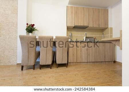 Apartment interior - kitchen dining area - stock photo