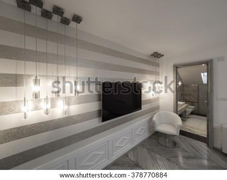 Apartment interior TV nook - stock photo