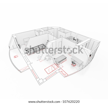 Apartment on a drawing in a cut. Isolated - stock photo