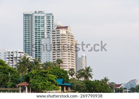 Apartment or condominium building construction site work - stock photo