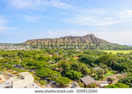 Apartment or hotel buildings in Honolulu, Hawaii, USA. Tropical city vacation background. - stock photo