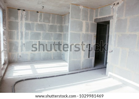 Apartment Renovation At Modern Condominium Under Construction. Interior  Partition. Aerated Concrete Blocks, Cement