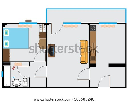 apartment sketch against white background, abstract art illustration - stock photo