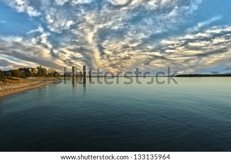 Apartment towers at sunrise at Runaway Bay on the Gold Coast Queensland Australia. - stock photo