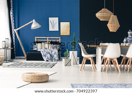 Charming Apartment With Bedroom, Communal Table, Wooden Furniture, Deep Cyan Walls