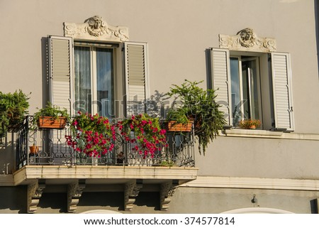 Apartments building in the historic center of Rimini, Italy - stock photo