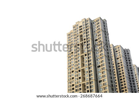 Apartments building isolated on white with copyspace - stock photo