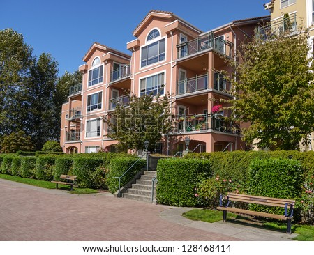 Apartments in Italian style in New Westminster. Canada - stock photo