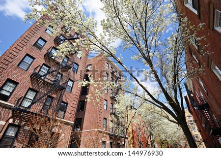 Apartments in the spring in the Chelsea neighborhood of New York City. - stock photo