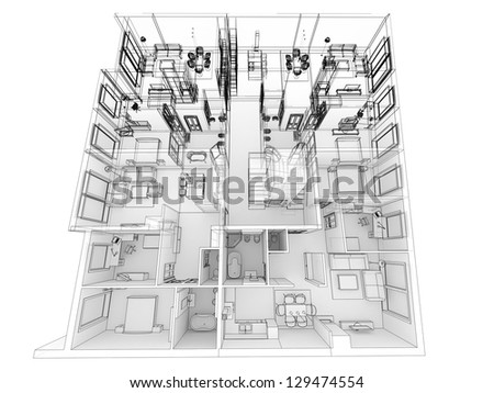 Drawing of apartment block stock photos drawing of for Apartment design process