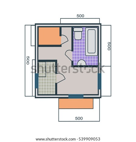 Apartments Plan In Flat Style Drawing One Bedroom Apartment With A Living Room