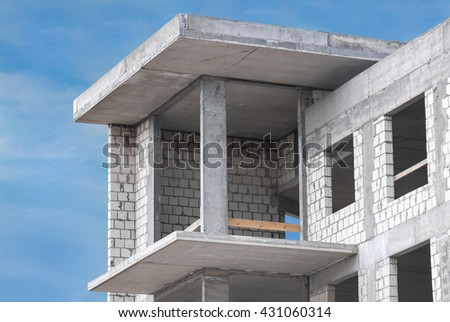 apartments under construction unfinished - stock photo