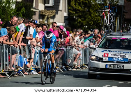 Apeldoorn, Netherlands May 6, 2016; Professional cyclist during the first stage of the Tour of Italy in 2016, a Time Trial flat stage in Apeldoorn.