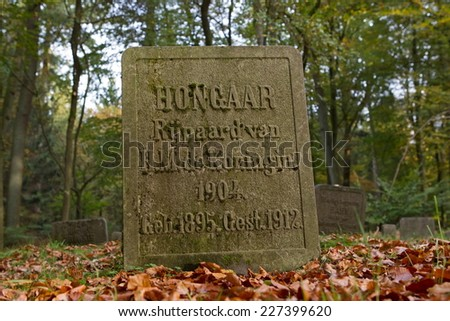 Apeldoorn, Netherlands - October 31, 2014: Tomb of horse in the forest of Het Loo Palace in Apeldoorn. - stock photo