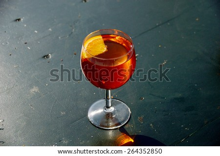 Aperol Spritz in a Wine Glass - stock photo