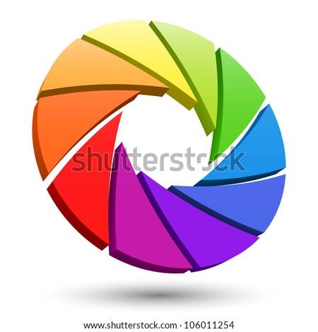 Aperture color wheel 3D logo. - stock photo