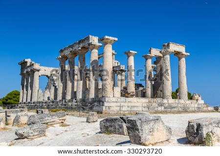 Aphaia temple on Aegina island in a summer day in Greece - stock photo