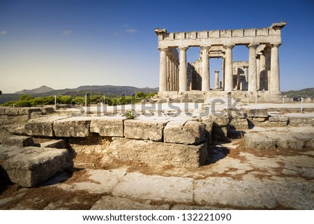 Aphaia temple, on Aegina island in Greece