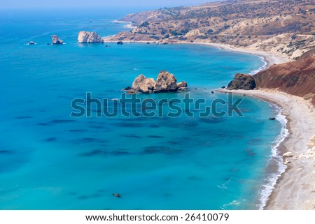 Aphrodite rock in Cyprus - landscape - stock photo