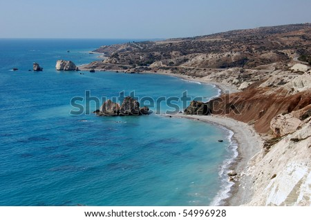 Aphrodite's rock in Cyprus. Its status in mythology as the birth place of Aphrodite  makes it a popular tourist location. - stock photo
