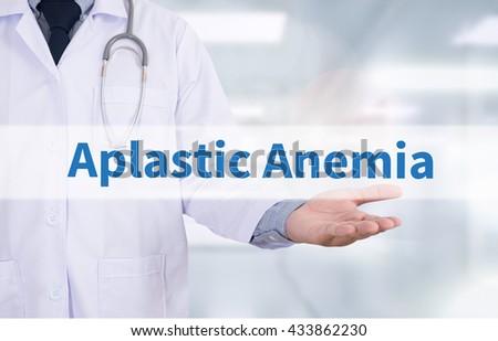 Aplastic Anemia Medicine doctor hand working - stock photo