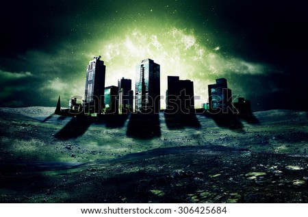 Apocalypse City - Elements of this Image Furnished by NASA - stock photo