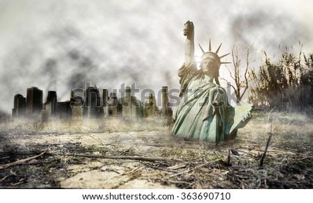 Apocalypse in New york. Fantasy concept about apocalyptic scenario - stock photo