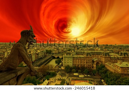 Apocalypse of sun explosion and magnetic storm - Conceptual photo. - stock photo