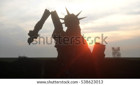 Apocalypse of USA, America. view destroyed New York city, Statue of liberty. Apocalypse concept. 3d rendering.