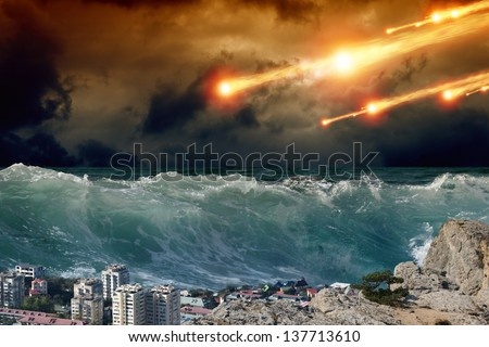 Apocalyptic background - giant tsunami waves, small coastal town, city, asteroid impact - stock photo
