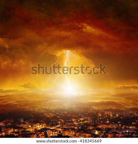 Apocalyptic background - judgment day, end of world, huge powerful lightning hits city from red glowing skies