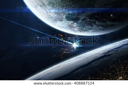 Apocalyptic background - planet exploding, armageddon illustration, end of time. Elements of this image furnished by NASA - stock photo