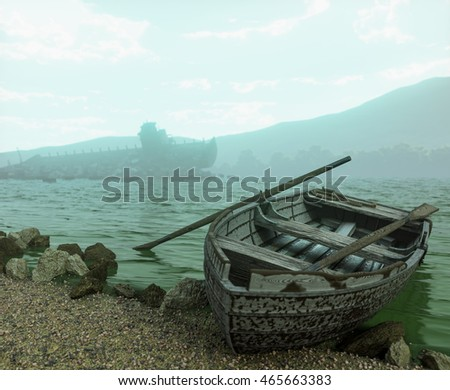 Apocalyptic concept background with old boat on the beach