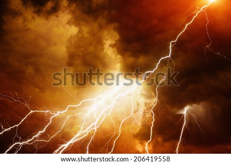 Apocalyptic dramatic background - bright lightnings in dark red stormy sky, judgment day, armageddon - stock photo