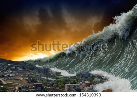 Apocalyptic dramatic background - giant tsunami waves crashing small coastal town - stock photo