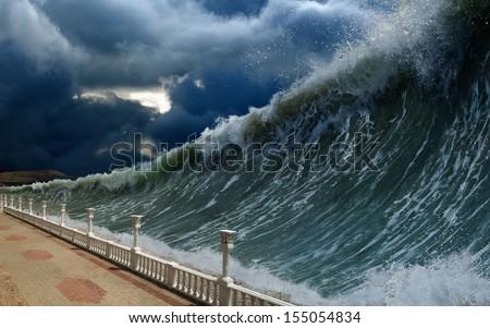 Apocalyptic dramatic background - giant tsunami waves, dark stormy sky - stock photo