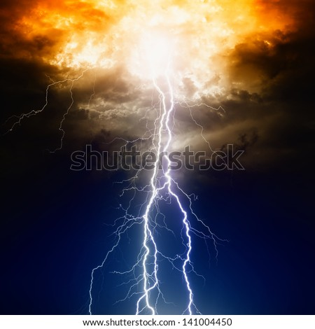 Apocalyptic dramatic background - lightnings in dark sky, judgment day - stock photo