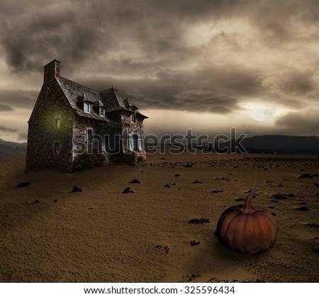 Apocalyptic Halloween scenery with old house pumpkin - stock photo